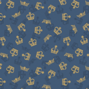Lewis & Irene - Britannia - 6380 - Scattered Metallic Crowns on Blue - A346.2- Cotton Fabric